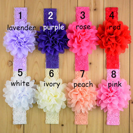 Wholesale Knitted Ropes - 16 color lace Flower Hair band Hair rope band knitted elastic headband Head Bands baby Hair band