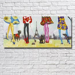 oil painting cartoon dog Australia - Sexy dressing girl walk the dog pictures handmade abstract cartoon dog wall art pictures human figure oil painting