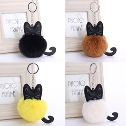 Wholesale Cross Pearls Charm - 4 Color Cute Fluffy Black Cat Keychain Pompom Faux Rabbit Fur Ball Key Chain Bag Women Key Ring Holder Handbag Charm Pendant