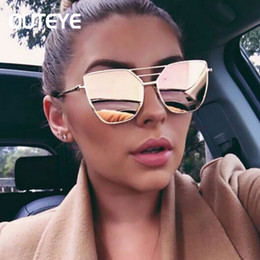 Wholesale Hexagon Mirrors - Wholesale- Cat Eye Mirror Sun Glass 2017 Brand Designer Hexagon Sunglasses For Women Oversized Cateye Shades Luxury Metal Eyewear Oculos