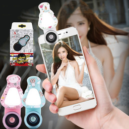 Wholesale Wholesale Macro Flash - Painting WQ-09 LED Filling Light lens Phone Flash with Wide Angle Macro Lens 140 Degree Fisheye Lens for iPhone Samsung Smartphone