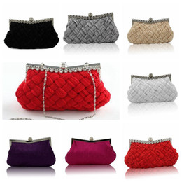 Wholesale Handmade Crystal Bags - Handmade Evening Bags Silks and Satins Knitting Pleated Bags Women Fashion Crystal Party Handbags Clutch Purse Wedding Hand Bags OOA3027