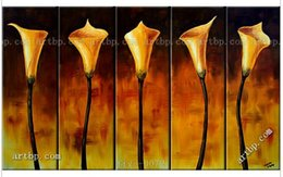 Wholesale Discounted Abstract Wall Art - Calla Lilies Discount Art Oil Painting Sale 5Pcs Hand Painted Landscape Wall Home Decor Art Modern Home Decoration Wall Art