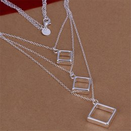 Wholesale White Tennis Necklace - Hot sale Three-line tripartite grid necklace sterling silver necklace STSN136,fashion 925 silver necklace factory direct sale christmas gift