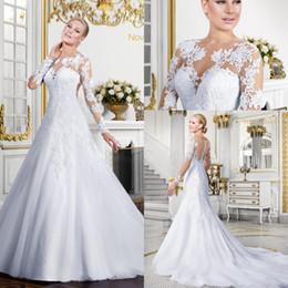 Wholesale Robe Casamento - Robe De Mariage 2016 Sheer Neck A Line Weddding Dresses Sexy Lace Apliques A-line Button Back vestidos De Noiva Casamento with Long Sleeves