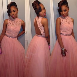 Wholesale Elastic Belts For Dresses - 2016 New Prom Dresses For Girls High Neck Lace Appliques Beads Pink Quinceanera Dress Formal Evening Gowns Crystal Belts Vestidos De Fiesta