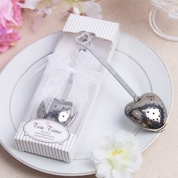 Wholesale Tea Spoon Gifts - Heart Shape Tea Strainer Tool Stainless Steel Tea Infuser with Gift Box Tea Time Spoon Filter Wedding Souvenir avor Gift