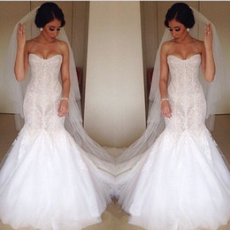 Wholesale Exquiste Wedding Dress - Exquiste Fashionable Wedding Dresses Mermaid 2017 New White Tulle Sweetheart Applique Beads Sequins Backless Sleveless Zipper Sweep Train