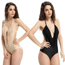 Wholesale Sexy Swimsuit Cover Belly - 2016 Hot Sexy V neck fringe one piece swimsuits set fashion secret covered belly bathing suit bacless women swimwear