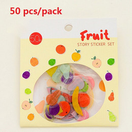 Wholesale Sweet Notebook - 50pcs set Sweet Fruit Story sticker set kawaii PVC stickers for album candy box notebook scrapbooking School supplies Wholesale , dandys
