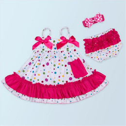 Wholesale Swing Dress Bloomers Set - Baby Girls Clothing Sets Swing Dress Summer Girls Cotton Clothing Sets O-neck Style Ruffle Bloomer Headband