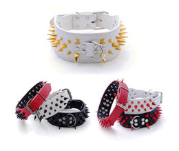 """Wholesale Black Studded Collar - New Hot Sale Spiked Studded Leather Dog Collars 2"""" wide Pet Dog Collars black gold red spikes for PitBull Mastiff medium big dogs 15pcs lot"""