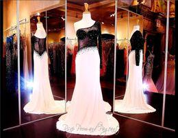 Wholesale One Sleeve Evening Dress Jersey - White Black Formfitting Jersey Prom Dress Black Sheer Illusion Bodice One Shoulder Long Sleeve Sheath Evening Dress