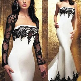 Wholesale Sexy Winter Dresses For Women - 2016 Zuhair Murad Mermaid Dresses Evening Wear Strapless Black Lace Trumpet Formal Women Prom Dress With Long Sleeves Jacket For Mother
