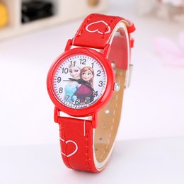 Wholesale Snow White Watches - New Frozen watch kids Cartoon snow White Kt cat fashion Anna Elsa Jelly Candy watch Cute Lovely Cartoon Leather Quartz Watch.