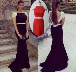 Wholesale Tarik Dress Red - Tarik Ediz 2016 Mermaid Prom Dresses Long Real Photos Black Boat Neck Crystals Capped Sleeves Beading Belt Backless Formal Evening Gowns