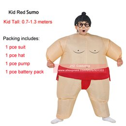 Wholesale Fat Suit Costume - inflatable suit Adults Kids Inflatable Suits Wrestler Costume Outfits for Men Women Children Fat Man Airblown Sumo Run Cosplay Halloween