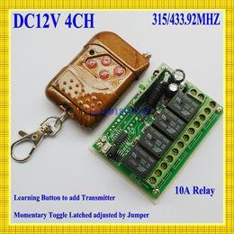 interruttore remoto a 12v Sconti All'ingrosso-DC 12V 4 CH Relay RF Remote Control Switch Ricevitore a 4 vie Trasmettitore 315 / 433.92MHz Wireless Switch per Remote ON OFF Power
