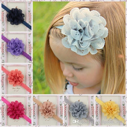 Wholesale Kids Hair Color Sticks - 50 pcs 2.5 inch Hollow flower baby hair accessories handmade wavy edge mesh cute kids hairband headband 15 color photography props B412