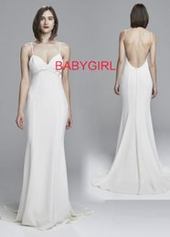 Wholesale Satin Charmeuse Wedding Dresses - BARE BACK SLIM Elastic Silk like Satin GOWN WITH CHARMEUSE DETAILING AND BUTTONS TO TRAIN FROM NOUVELLE AMSALE Empire Wedding Dresses