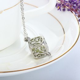 Wholesale Led Christmas Lights Necklace - 20pcs Christmas Luminous beads hollow square leaves life light bead pendant necklace love the magic box LED girlfriend mother intimate gift