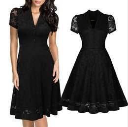 Wholesale Rockabilly Robes - Casual Womens Lace Vintage Black Dress Summer Retro 1950s Rockabilly Robe Sexy V Neck Evening Party Elegant Swing Dresses