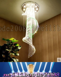 Wholesale Modern Crystal Pendant Lamp Spiral - PL03XY Dia 50-100cm Modern Minimalist Spiral Staircase Crystal Chandelier Lamp LongDuplex Villa House Large Living Room Pendant Lights