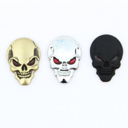 Wholesale Cars Metal Cover - 1 Pcs New 3D Metal Skull Logo Emblem Sticker Car SUV Body Exterior Cover Fender Decals DIY Car-styling 3D Stickers