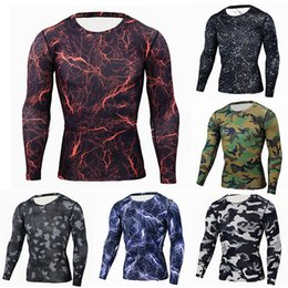 Wholesale Mens Camouflage Shirt Xl - Mens Bodybuilding Clothing Stringers Camouflage quick-drying elasticTop Fitness compression clothing long-sleeved T-shirt