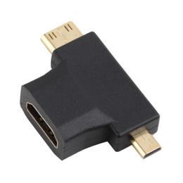 Wholesale Hdmi Micro B - 3 in 1 HDMI Female to Mini Micro HDMI Male V1.4 90 Degree Convertor Adapter A to HDMI C TYPE B