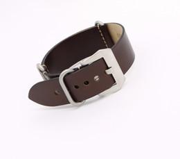 Wholesale Dark Brown Leather Belt Men - 24mm NEW Man Lady Dark Brown VINTAGE Watch Band Strap Belt Real Leather Silver Black Brushed Screw Buckle Luxury Nato Zulu Ring