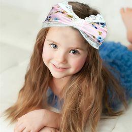 Wholesale Headscarves Turbans - 2016 Girls Kids Lace Flower Print Headbands Baby Floral Hairbands Hairsticks Headwraps Girls Elastic Cotton Turban Headscarf KHA514