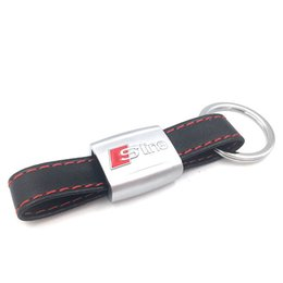 Wholesale A4 Autos - Auto Car Sticker Black Red Line Leather Sport SLine for Audi 3 A4 A5 A6 A8 TT RS Q5 Q7 S Line Keychain Keyring Keyfob