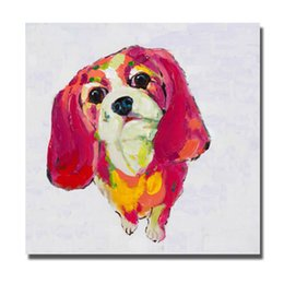 Wholesale Rooms Painted Red - Modern Red Hair Dog Oil Painting for Living Room Decoration Hand Painted Oil Canvas Painting Home Decor Wall Pictures No Framed