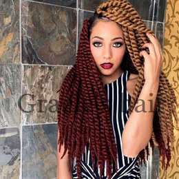 Wholesale Expressions Hair - Hot Sale 12twists pack Havana Mambo Twist Crotchet Braids Expression 24inch 2X Crochet Braid Hair Senegalese Twist Free Shipping