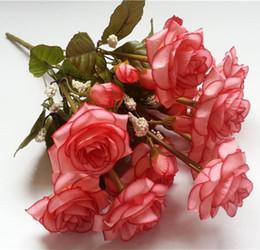 Wholesale Single Rose Bouquet - Rose Bouquet Arrangements Bouquet Single Rose Party Nosegay Silk Flowers Craft Decoration Flowers Decoration For Wedding Red Flower Bouquet