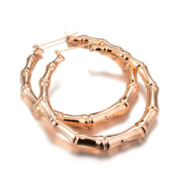 Wholesale European Hoops - European Simple Bamboon Design Big Circle Hoop Earrings Personality Gold  Silver Plated Earing For Women Fashion Costume Jewelry