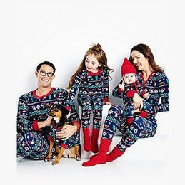 Wholesale Snow Child Suit - Christmas pyjamas children santa claus pajamas Girl Kids Sleepwear Suits christmas snow pajamas family sets match adult clothes T0369