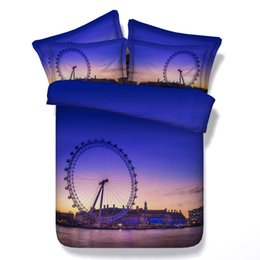 Wholesale Duvet Boy - 3D Blu Ferris wheel Scenic Printed Bedding Sets Twin Full Queen King Size Bedspread Bedclothes Duvet Covers for Children's Boy Bedroom Decor