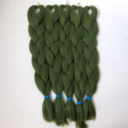 Wholesale 24 Synthetic Hair Extensions - 100% Kanekalon Jumbo Braid Hair 24 Inch Synthetic Brading Hair Extension Kanekalon OLIVE GREEN Color Braiding Hair T2609