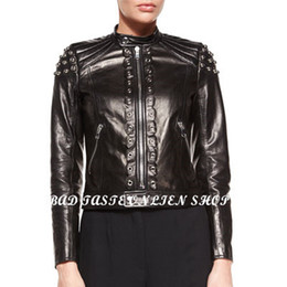 Wholesale Leather Cropped Woman Biker Jacket - Wholesale-Luxury Brand Designer Leather Lace-up Moto Jacket Womens Leather-Stitch Zipper Biker Jacket Classic Cropped Boxy Lambskin Jacket