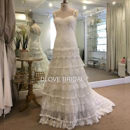 Wholesale High Low Layered Wedding Dress - Romantic Column Layered Lace Wedding Dress Appliques Spaghetti Straps Sweetheart Low Back Gown Vestido De Novia Custom Made High Quality