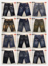 Wholesale Bleach 42 - Free Shipping Mens Robin Rock Revival Jeans shorts Crystal Studs Denim Pants Designer Trousers Men's size 30-42 New shorts