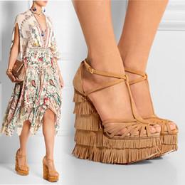 Wholesale Custom Wedge - Sexy Summer High Heels 2016 Custom Made Plus Size T Strap Buckle Strap Wedges Custom Made Plus Size High Heels Tassel Party Shoes