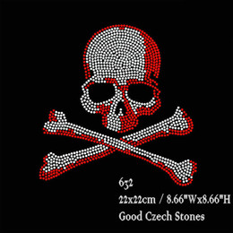 Wholesale Hotfix Red Rhinestones - 30pcs lot Hotfix Rhinestone Iron On Transfers Big Crystal Red Skull Motifs DIY For t shirt