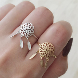 Wholesale Silver Wedding Ring Wrap - Dreamcatcher Feather Hollowed Openings Gold Ring Silver Ring Dreamcatcher Zodiac Animals Individually Wrapped High Quality Alloy Jewelry