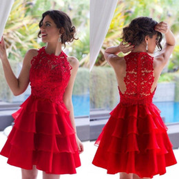 Wholesale Layered One Shoulder Dress - Summer Red Short Mini Prom Dresses Hollow Lace Layered Mini Homecoming Dresses Cheap Party Gowns