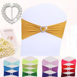 Wholesale Satin Bows For Chairs - 100 pcs Free Shipping Spandex Lycra Chair Sashes Elastic Satin Chair Bands with Buckle for Wedding Chair Cover Sashes Bows Wholesale