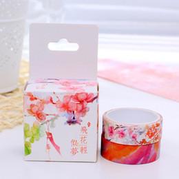 Wholesale Box Sealing Tape - Wholesale-2 pcs box pink floral washi tape DIY album decoration seal masking tape kawaii stationery scrapbooking tools washi tape