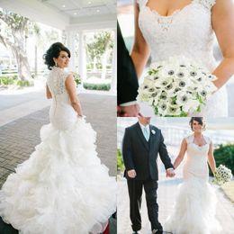 Wholesale Organza Sweetheart Mermaid Wedding Dress - Vestidos De Novia Vintage 2017 Mermaid Lace Wedding Dresses Cap Sleeves Sweetheart Button Back Bridal Gowns with Cascading Ruffles BA1790